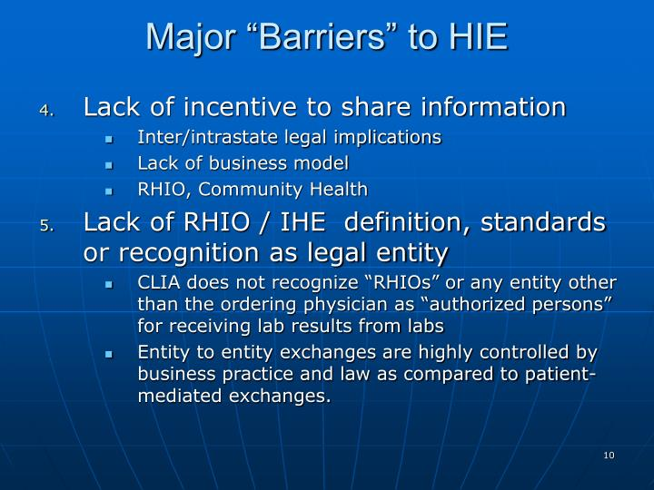 """Major """"Barriers"""" to HIE"""