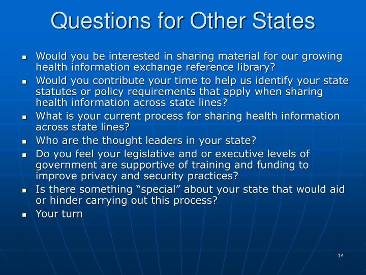 Questions for Other States