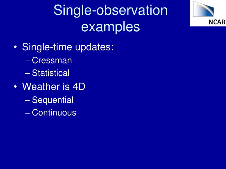 Single-observation examples