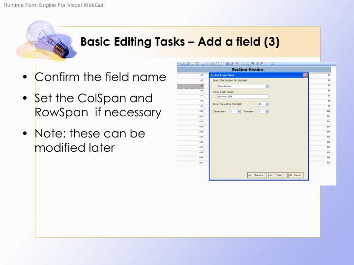 Basic Editing Tasks – Add a field (3)