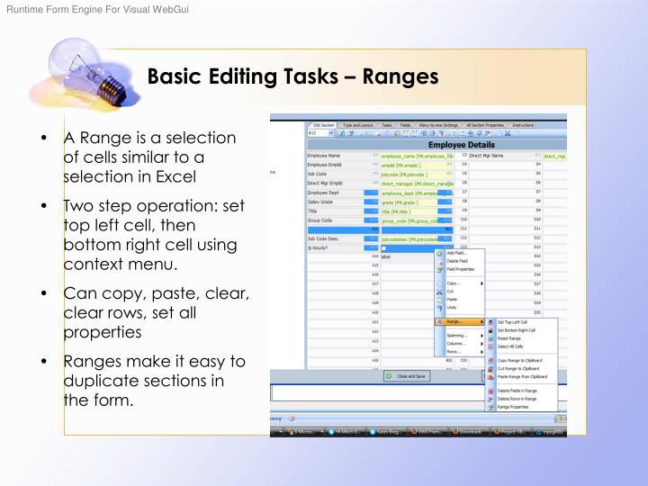 Basic Editing Tasks – Ranges