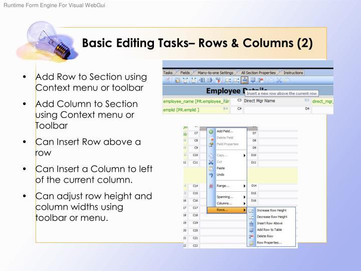 Basic Editing Tasks– Rows & Columns (2)