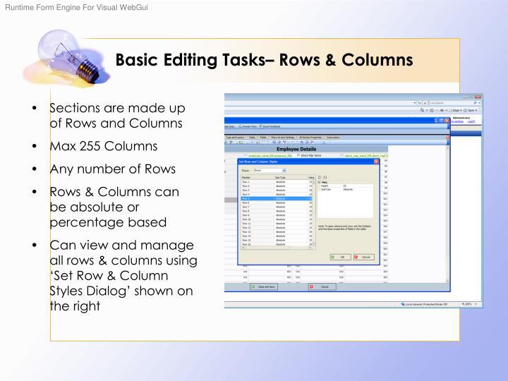 Basic Editing Tasks– Rows & Columns