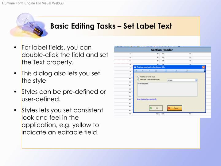 Basic Editing Tasks – Set Label Text