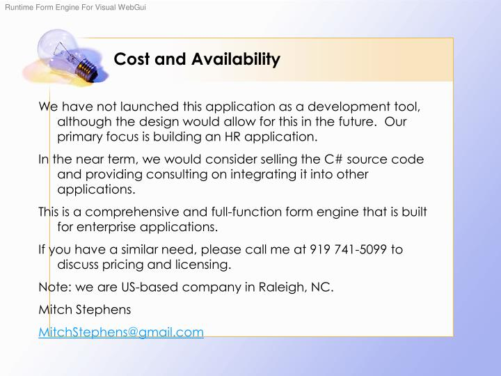 Cost and Availability