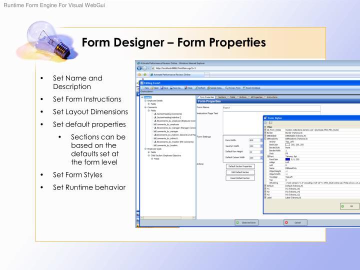 Form Designer – Form Properties