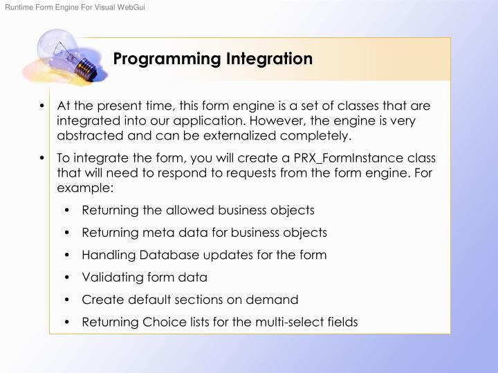Programming Integration