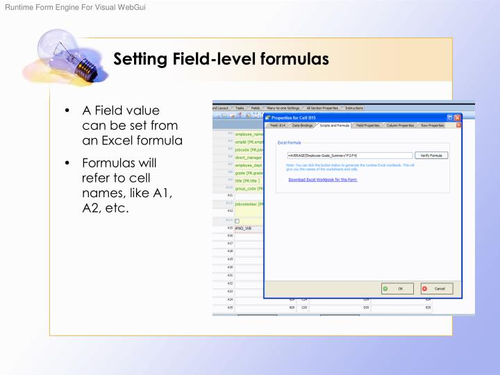 Setting Field-level formulas