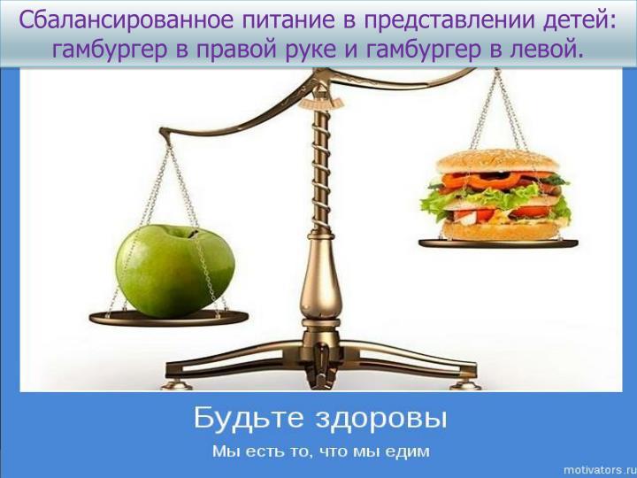 Сбалансированное питание в представлении детей: гамбургер в правой руке и гамбургер в левой.