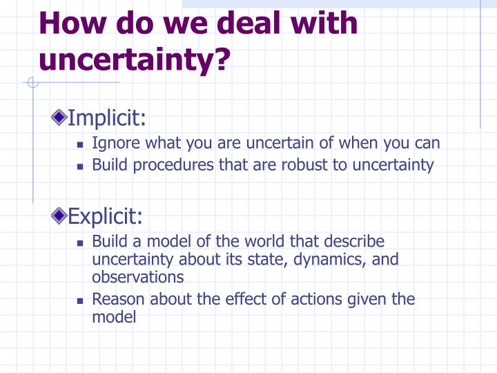 How do we deal with uncertainty?
