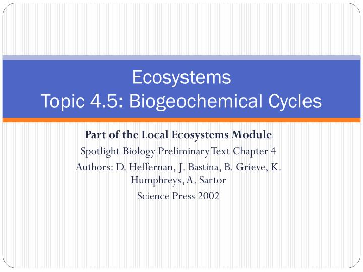 Ecosystems topic 4 5 biogeochemical cycles