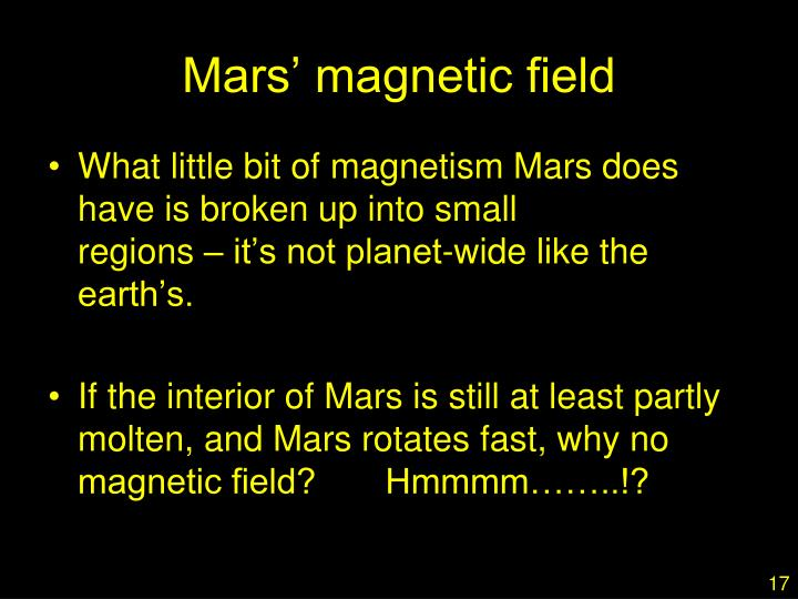 Mars' magnetic field