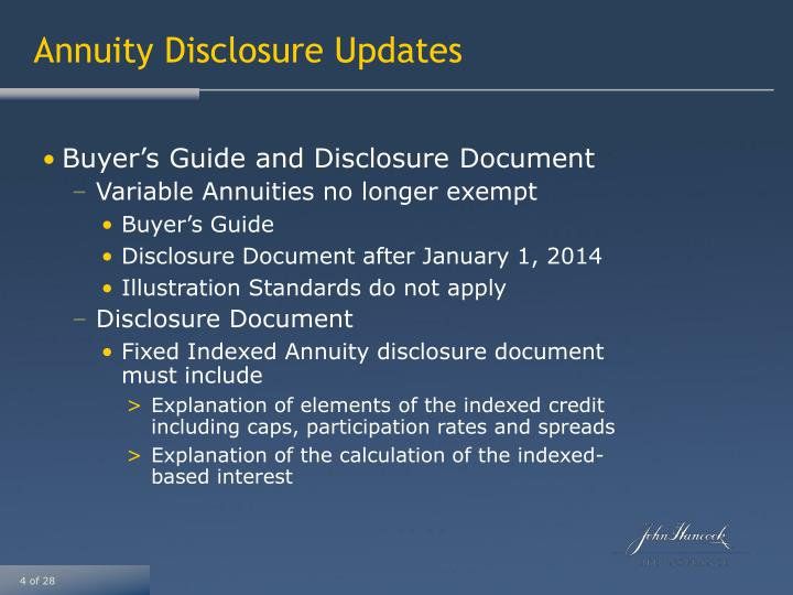 Annuity Disclosure Updates