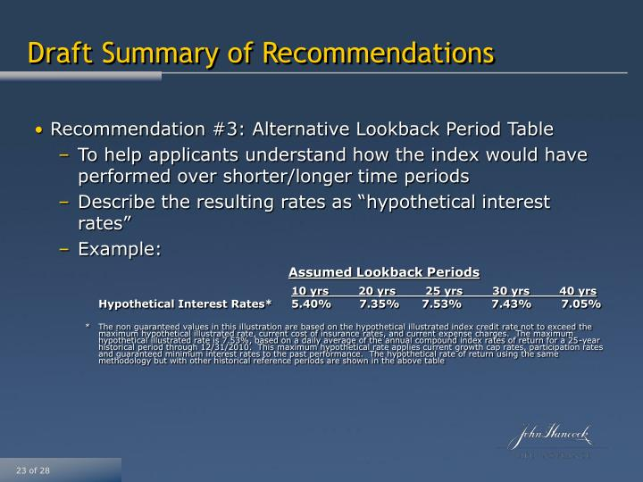 Recommendation #3: Alternative Lookback Period Table