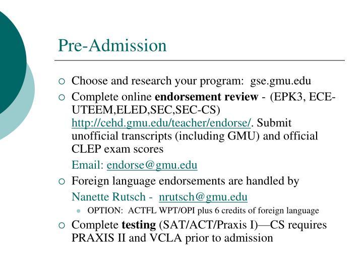 Pre-Admission