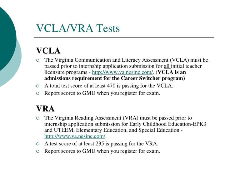VCLA/VRA Tests