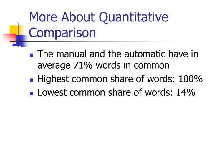 More About Quantitative Comparison