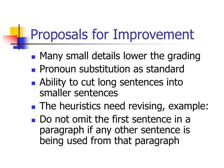 Proposals for Improvement