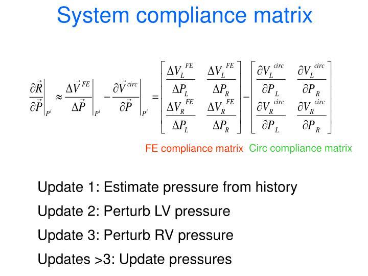 System compliance matrix