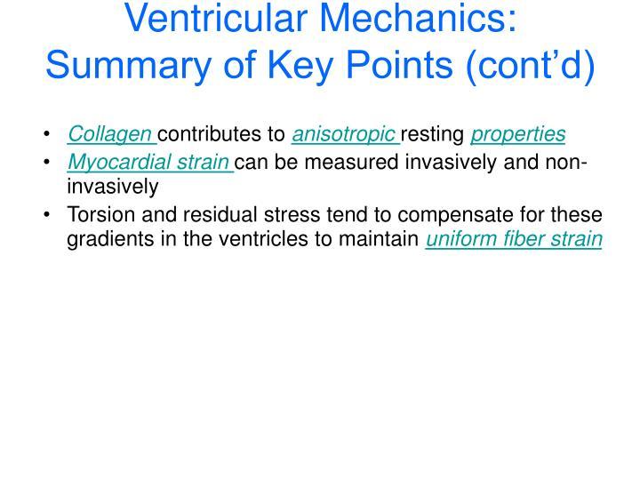 Ventricular Mechanics: Summary of Key Points (cont'd)