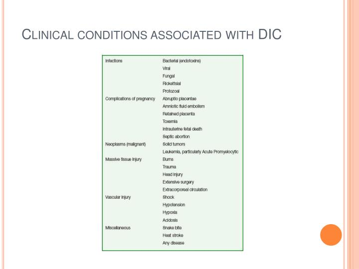 Clinical conditions associated with DIC