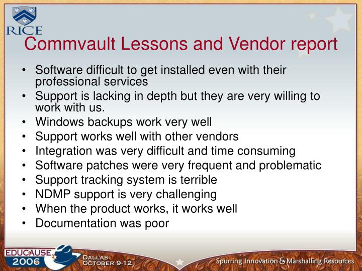 Commvault Lessons and Vendor report