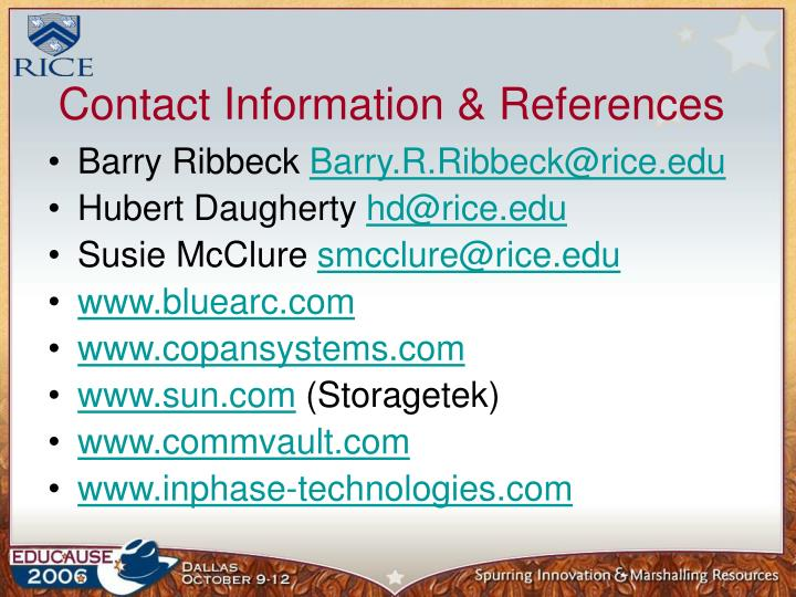 Contact Information & References