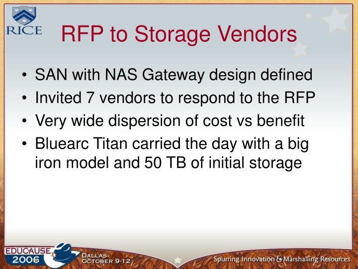 RFP to Storage Vendors