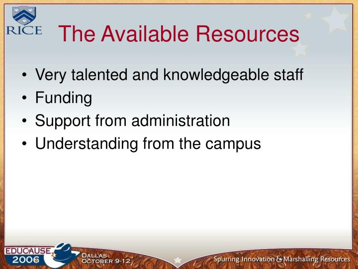 The Available Resources
