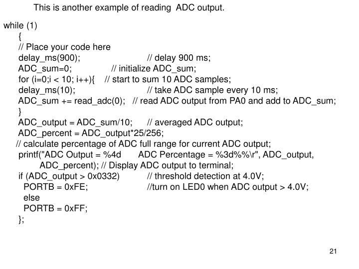 This is another example of reading  ADC output.