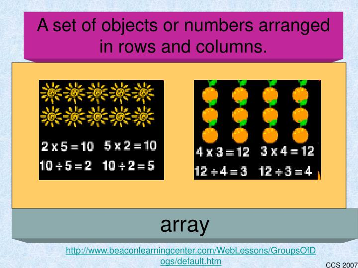 A set of objects or numbers arranged in rows and columns.