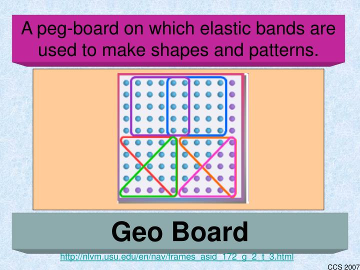 A peg-board on which elastic bands are used to make shapes and patterns.