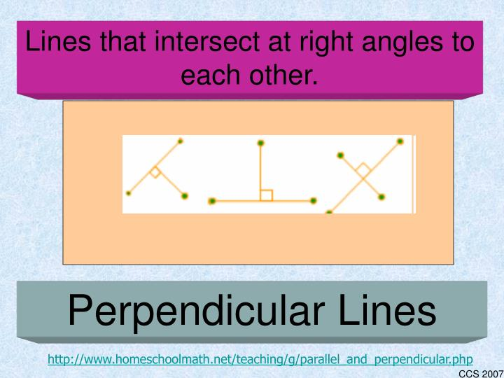 Lines that intersect at right angles to each other.