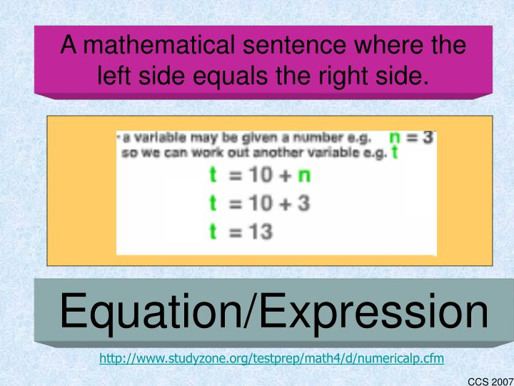 A mathematical sentence where the left side equals the right side.