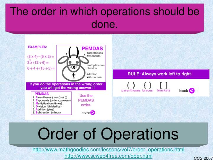 The order in which operations should be done.