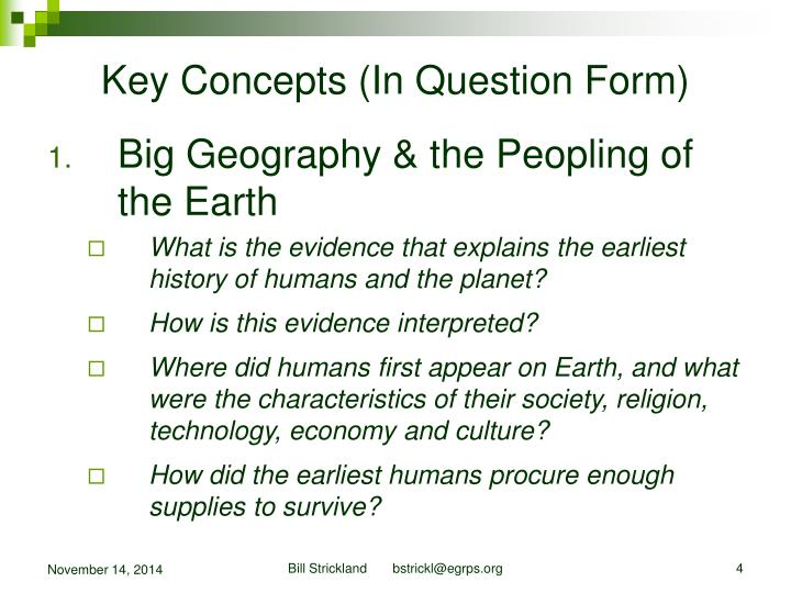 Key Concepts (In Question Form)