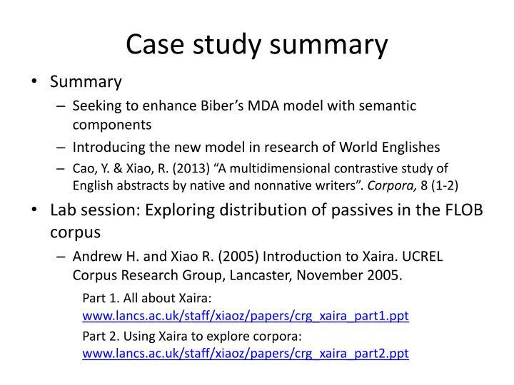 Case study summary