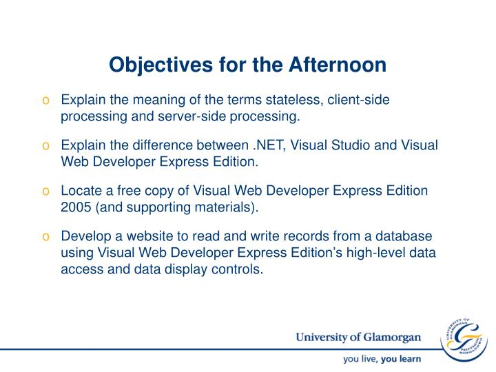 Objectives for the Afternoon