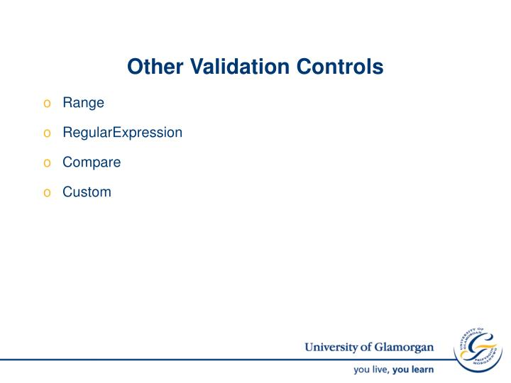 Other Validation Controls