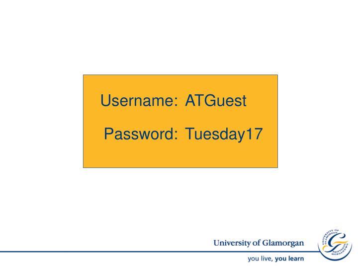 Username: ATGuest