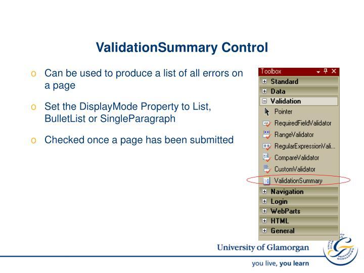 ValidationSummary Control