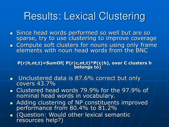 Results: Lexical Clustering
