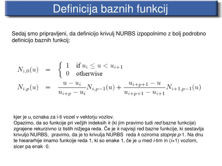 Definicija baznih funkcij