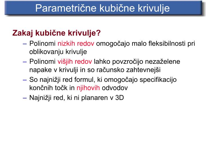 Parametrične kubične krivulje