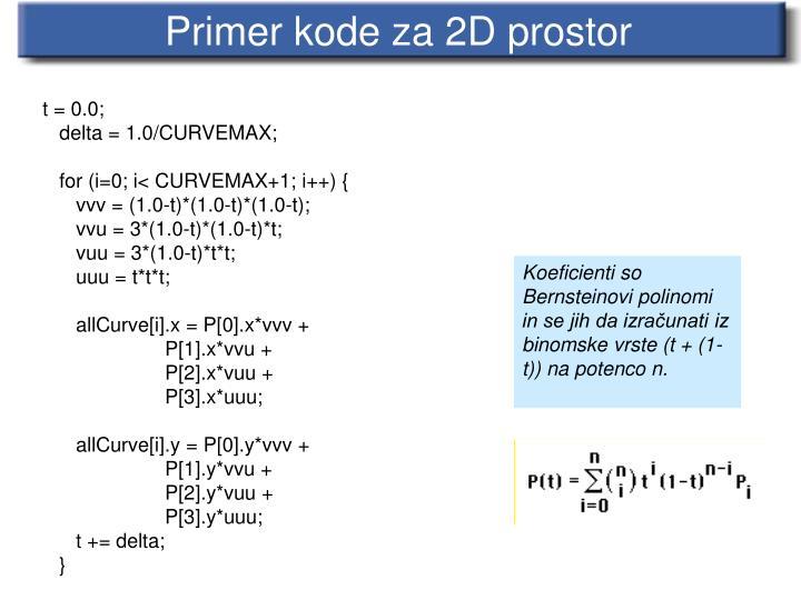 Primer kode za 2D prostor