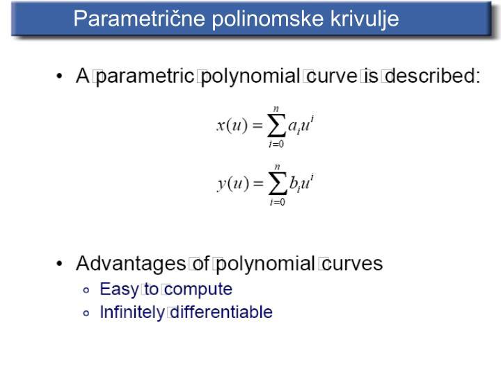 Parametrične polinomske krivulje