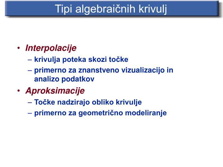 Tipi algebraičnih krivulj