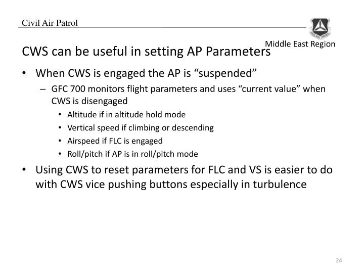 CWS can be useful in setting AP Parameters