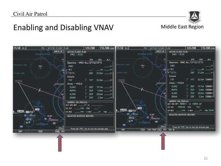 Enabling and Disabling VNAV