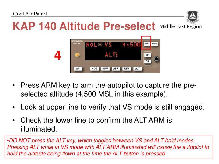 KAP 140 Altitude Pre-select